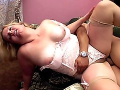 Curvy blonde having her hairy slit cock jammed