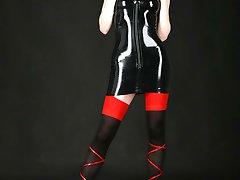 Tight fit black latex dress