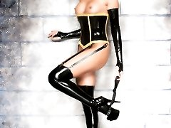 blonde in high heels latex stockings corset