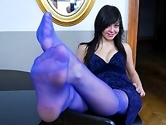 Amateur girl in blue pantyhose