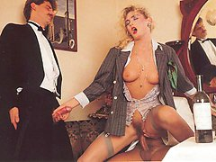 Seventies lady and 2 cocks