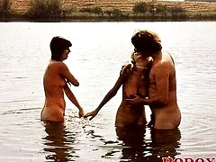 Outdoor seventies threesome