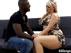 Full bodied blonde gets black cocked
