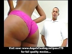 Sweet afro chick undressing and doing blowjob and fucked by big guy