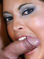 Sexy lady Vivian feasts on a dick and got her natural hairy pussy fucked all over the floor