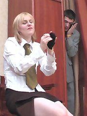Stockinged secretary in her sex desire is extremely kinky fucking like hell