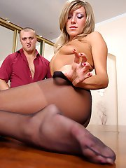 Spicy chick in control top pantyhose going for wild coupling on the table