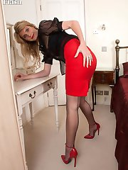 Bianca stripping and teasing to her sheer Magnolia brand nylons!