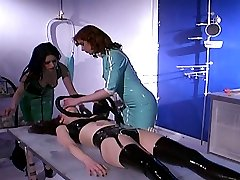 Hot nurse mistresses test new kinky electro shock and air mask punishments on Anastasia Pierce