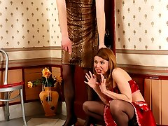 Filthy sissy guy prefers to get screwed by his strap-on armed French maid