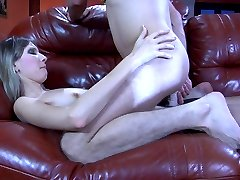 Lusty girl rims and rams her guy after some hard throat fucking on the sofa
