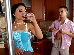 Horny guy presenting cutie a strap-on craving for breathtaking ass-banging