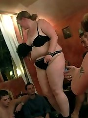 The plumper gets naked and gets on her hands and knees to be drilled hard from behind