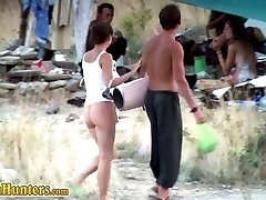 Pretty gal spycamed in nudist beach camp