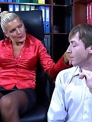 Lusty lady-boss whips out a strapon to nail down a hot-assed male employee