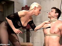 Leather clad Mistress Lorelei Lee breaks in a new slave in this classic Divine Bitches dungeon...
