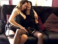 Strapon Jane teasing crossdressers hard cock