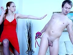 Fiery babe forces a guy to suck and ride on her enormous fake strap-on dick