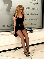 Hot leggy blonde Kathryn buckles up her high heels in sexy nylon stockings and a beautiful long...