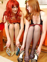 Freaky lesbians getting kicks from tender foot play with their pantyhose on