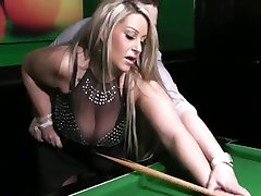 Beautiful mom with giant boobs have a sex in billiard-room