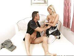 Hot blonde maid screwed hard
