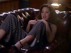 Krista Allen fingering her pussy on the couch