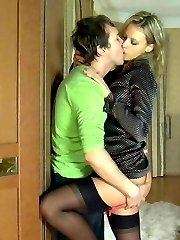 Heated gal welcomes her lover with passionate mouth kissing before anal fun