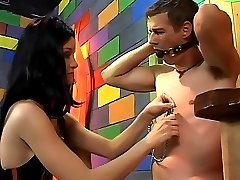 Hot dominant chick gags and waxes a stud