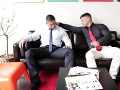 Ripped muscular officestuds bang before job interview