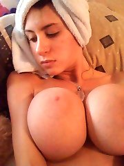 Amateur big-tittied honeys tease on cam