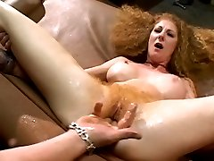 Blonde chick riding cock with her bushy cunt