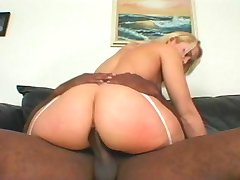 Blonde in white lingerie getting pounded by black guy
