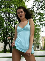 Bold girl in sandy pantyhose gets to upskirt flashing in the public place