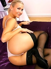 Beautiful blonde babe Michelle loves her job but not as much as relaxing around the house in...