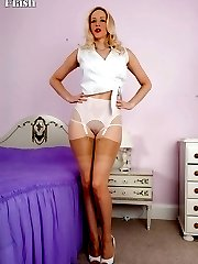 Adorable Samantha looking chick in tight pencil skirt and glossy RHT nylons!