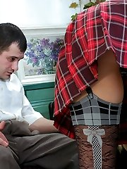 Naughty girl in black patterned stockings luring her tutor into hot fucking