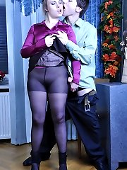 Nasty secretary gets some cream onto black control top tights in the office