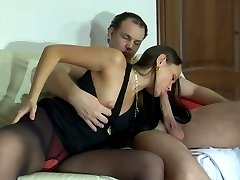 Fiery brunette in black pantyhose going for heated 69ing and hard coupling