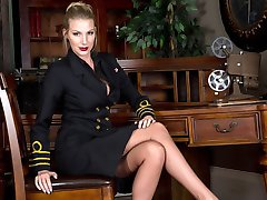 Danielle as a female superior officer wearing full fashion nylons, heels and kinky lingerie is hard to ignore.