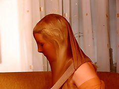 Shiny and suntan pantyhose encasement