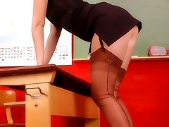 Peggy as naughty teacher in brown genuine stockings