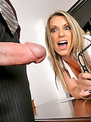 Super hot big tits boss babe sucks a hard cock then gets her box banged hard in the office in...