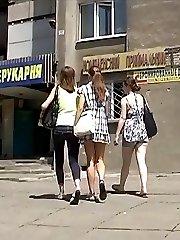 Girls agree to show their pretty upskirts