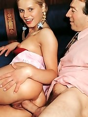 Retro blonde banged by boss