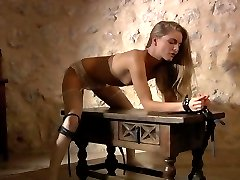 Delicate blonde handcuffed for bondaged sex
