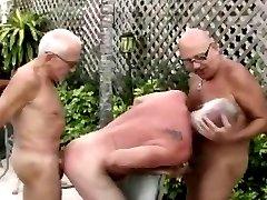 Older men threesome, hot
