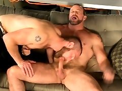 Dick hungry gay bear gobbles hard cock