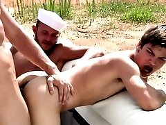 Muscled sea food hunks outdoor ass fuck
