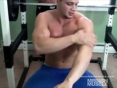 Muscle guys working out nude